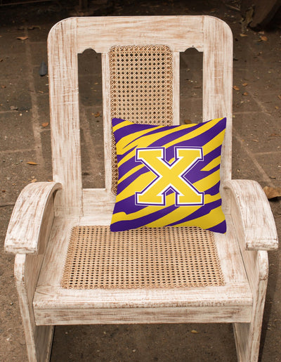Monogram - Tiger Stripe - Purple Gold Decorative Canvas Fabric Pillow Initial X