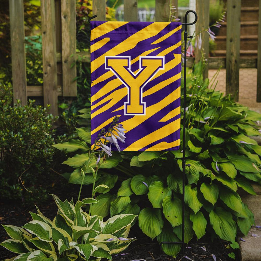 Buy this Monogram - Tiger Stripe - Purple Gold Initial Y Monogram Initial Flag Garden