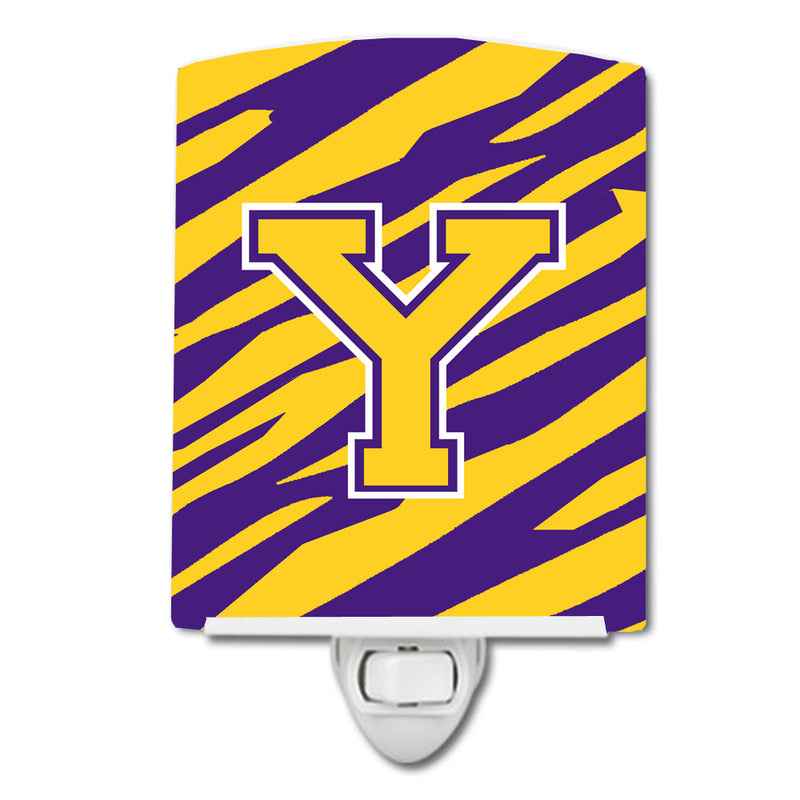 Buy this Letter Y Monogram - Tiger Stripe - Purple Gold Ceramic Night Light CJ1022-YCNL