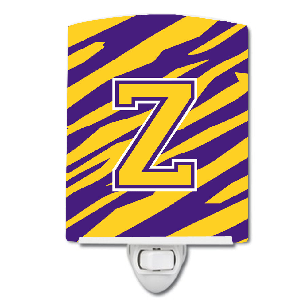 Buy this Letter Z Monogram - Tiger Stripe - Purple Gold Ceramic Night Light CJ1022-ZCNL