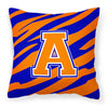 Letter A Monogram - Orange Blue Tiger Stripe Fabric Decorative Pillow CJ1023-APW1414 - the-store.com