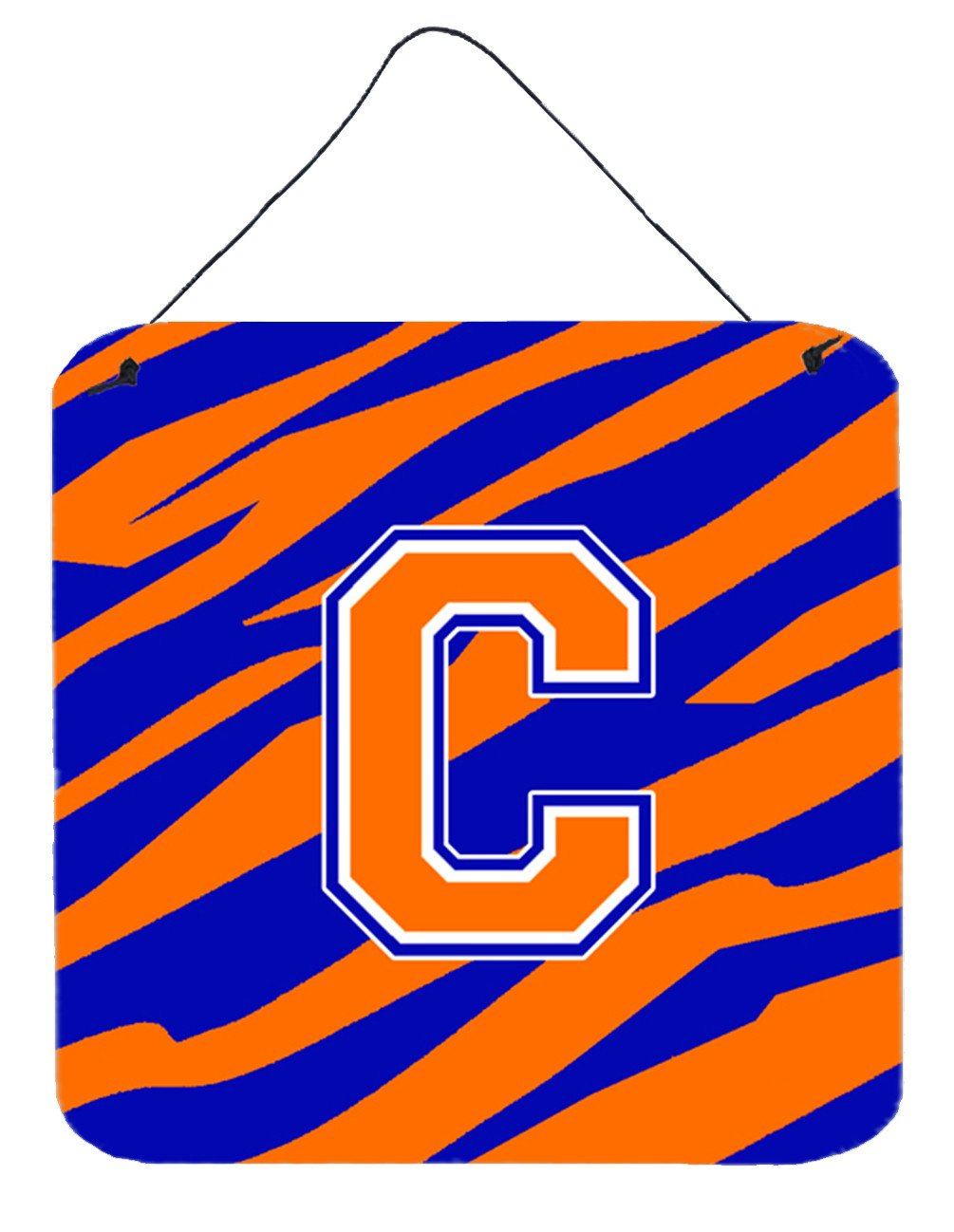 Letter C Initial Tiger Stripe - Blue Orange  Wall or Door Hanging Prints by Caroline's Treasures