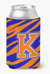 Letter K Initial Monogram Tiger Stripe Blue Orange Can or Bottle Beverage Insulator Hugger by Caroline's Treasures
