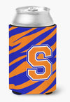 Buy this Letter S Initial Monogram Tiger Stripe Blue Orange Can or Bottle Beverage Insulator Hugger