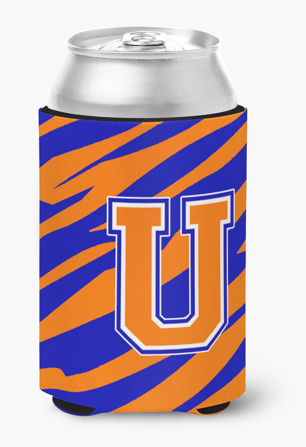 Letter U Initial Monogram Tiger Stripe Blue Orange Can or Bottle Beverage Insulator Hugger by Caroline's Treasures