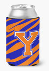 Buy this Letter Y Initial Monogram Tiger Stripe Blue Orange Can or Bottle Beverage Insulator Hugger