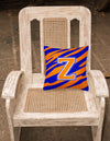 Monogram Initial Z Tiger Stripe - Blue Orange Decorative   Canvas Fabric Pillow - the-store.com