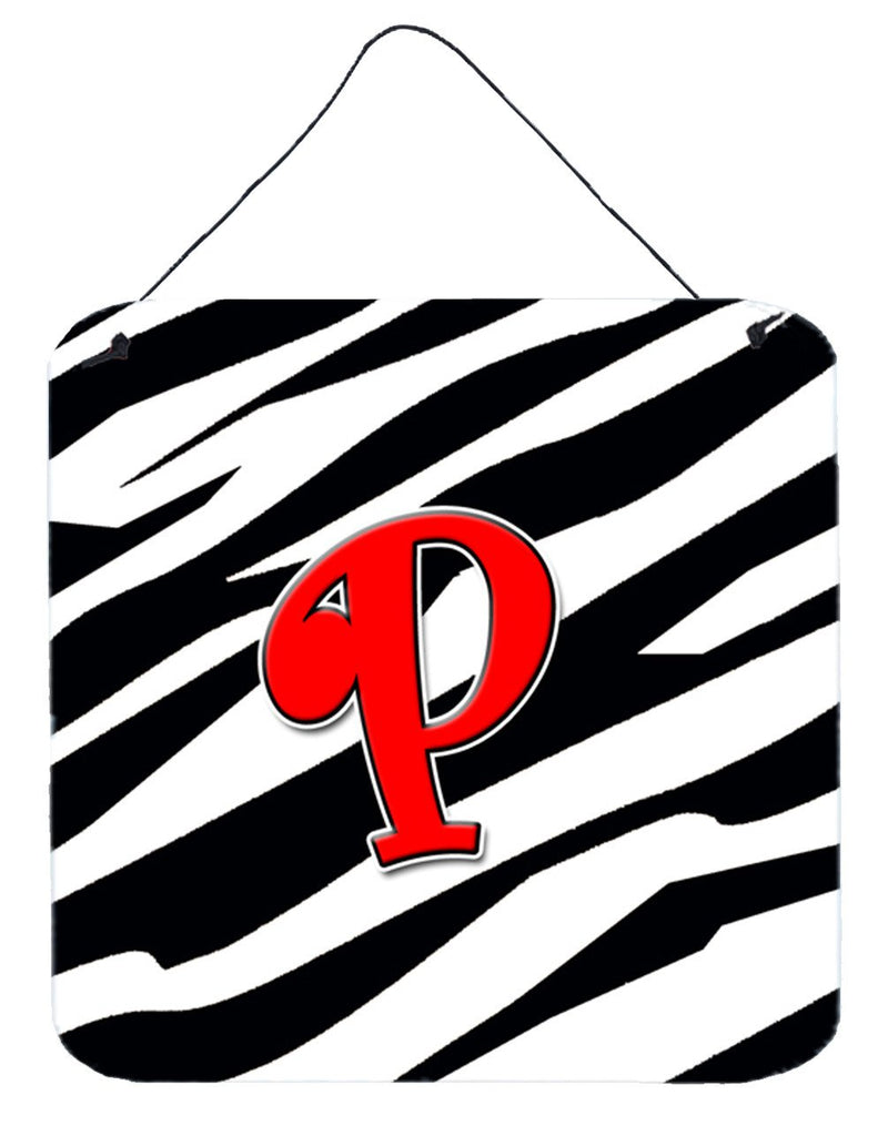 Buy this Letter P Initial Monogram - Zebra Red Wall or Door Hanging Prints