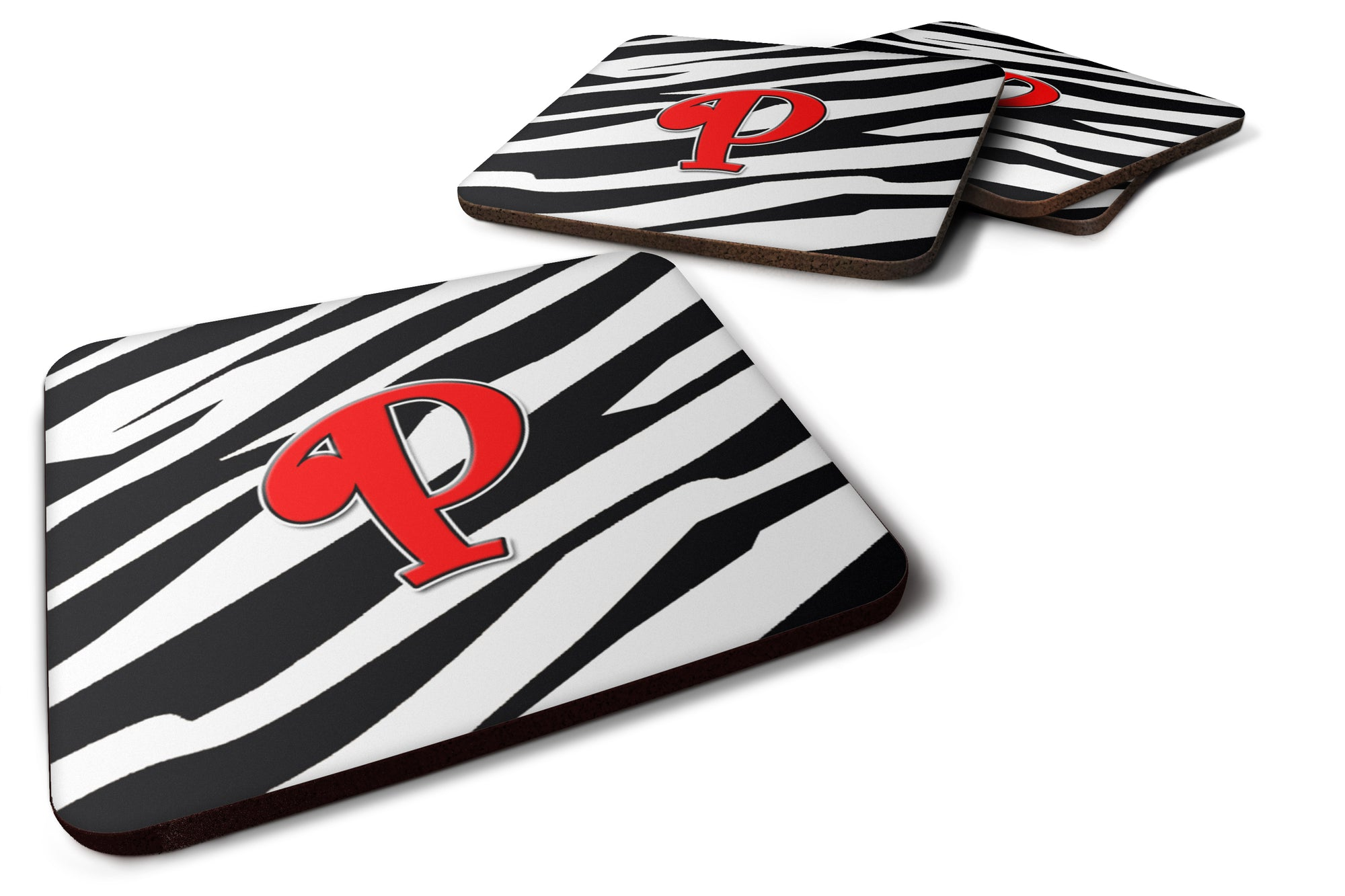 Buy this Set of 4 Monogram - Zebra Red Foam Coasters Initial Letter P