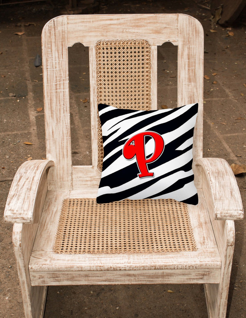 Buy this Monogram Initial P Zebra Red Decorative   Canvas Fabric Pillow CJ1024
