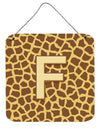 Letter F Initial Monogram - Giraffe Aluminium Metal Wall or Door Hanging Prints by Caroline's Treasures
