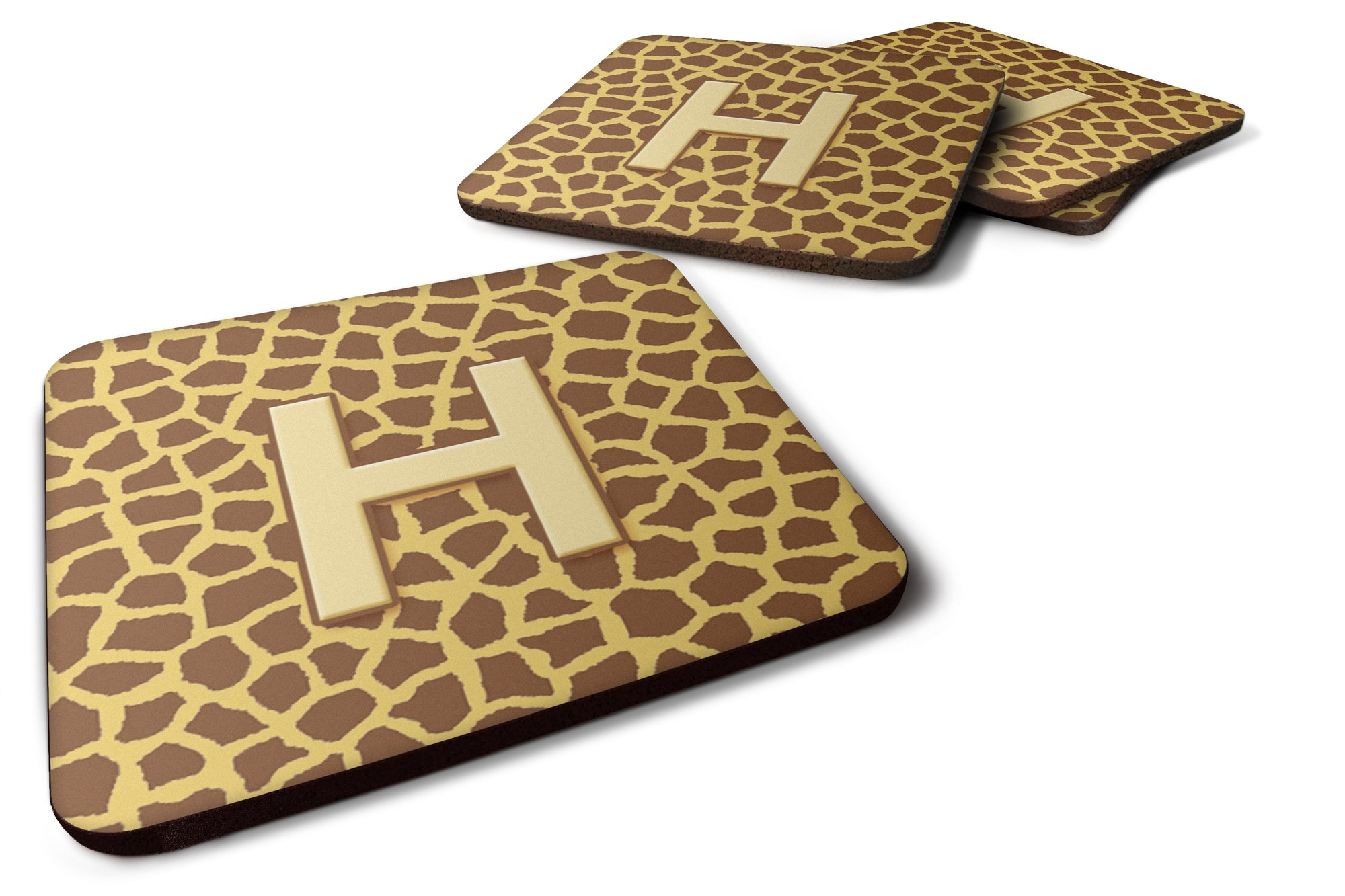 Buy this Set of 4 Monogram - Giraffe Foam Coasters Initial Letter H