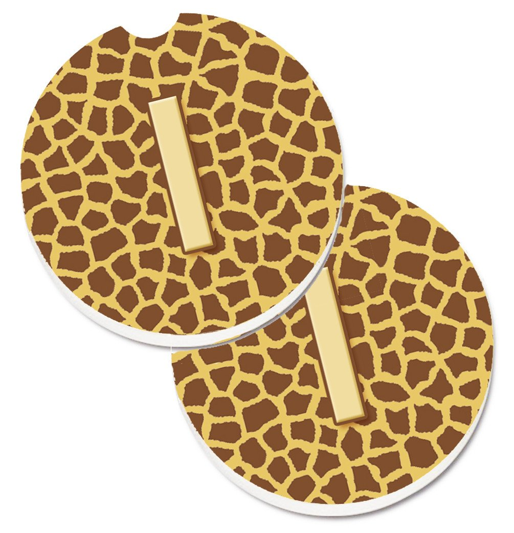 Monogram Initial I Giraffe  Set of 2 Cup Holder Car Coasters CJ1025-ICARC by Caroline's Treasures