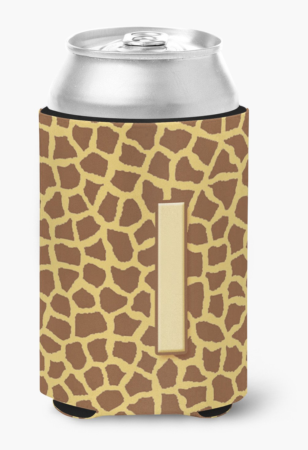 Letter I Initial Monogram - Giraffe Can or Bottle Beverage Insulator Hugger by Caroline's Treasures