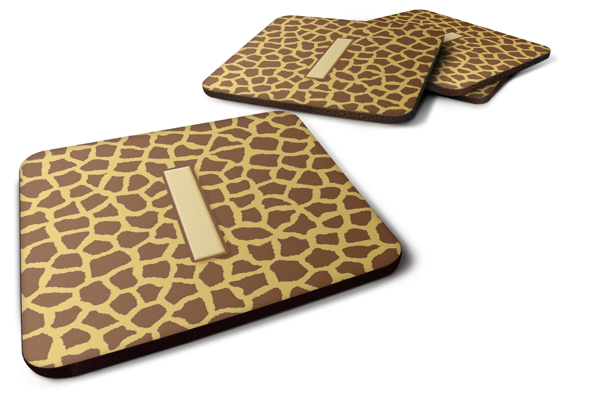 Set of 4 Monogram - Giraffe Foam Coasters Initial Letter I by Caroline's Treasures
