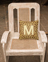 Monogram Initial M Giraffe Decorative   Canvas Fabric Pillow CJ1025 by Caroline's Treasures
