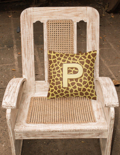 Monogram Initial P Giraffe Decorative   Canvas Fabric Pillow CJ1025