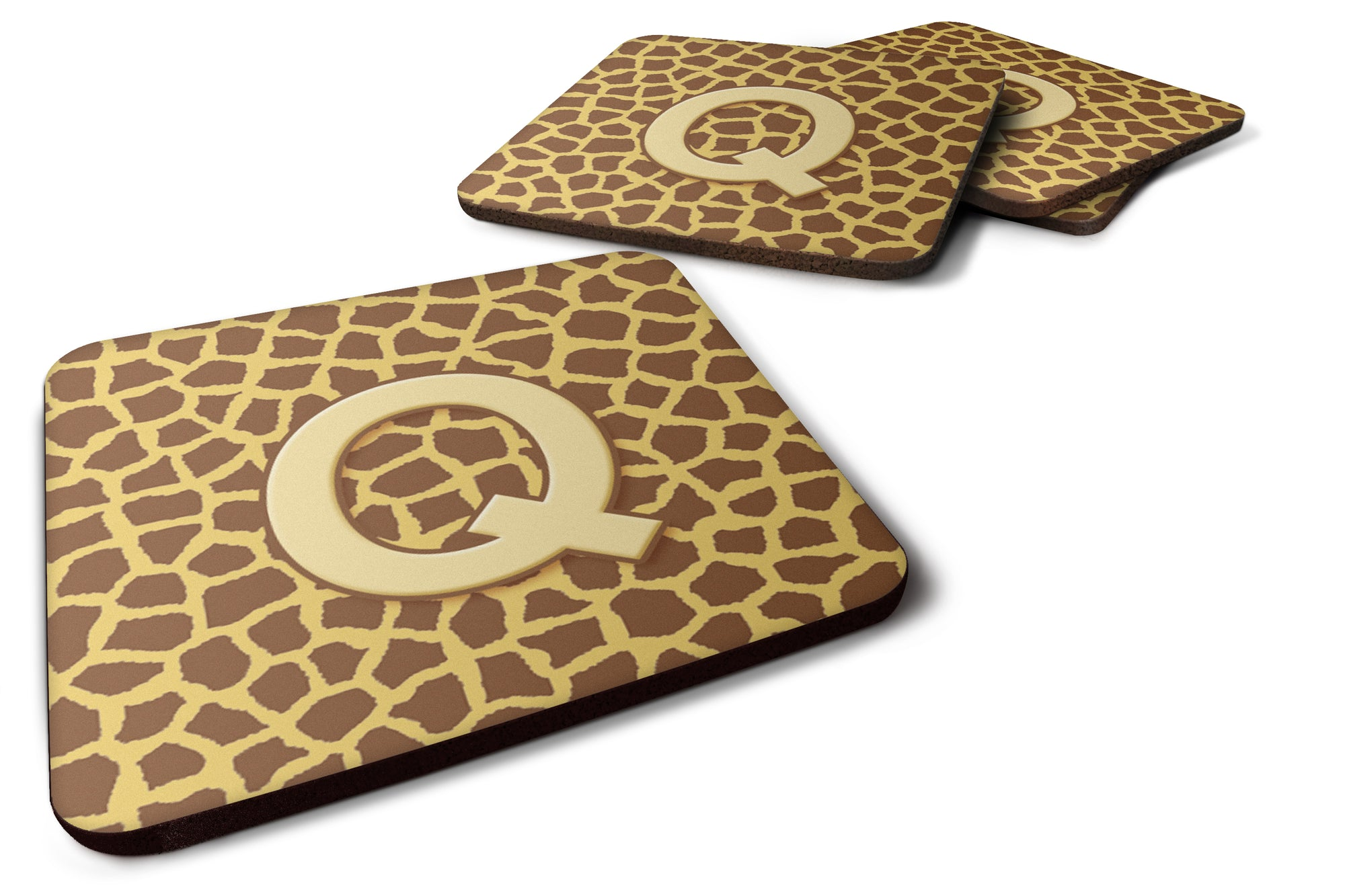 Set of 4 Monogram - Giraffe Foam Coasters Initial Letter Q by Caroline's Treasures