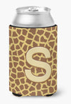 Letter S Initial Monogram - Giraffe Can or Bottle Beverage Insulator Hugger by Caroline's Treasures