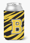 Letter B Initial Monogram - Tiger Stripe - Black Gold Can Beverage Insulator Hugger by Caroline's Treasures