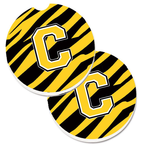 Buy this Monogram Initial C Tiger Stripe - Black Gold Set of 2 Cup Holder Car Coasters CJ1026-CCARC