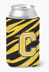 Letter C Initial Monogram - Tiger Stripe - Black Gold Can Beverage Insulator Hugger by Caroline's Treasures