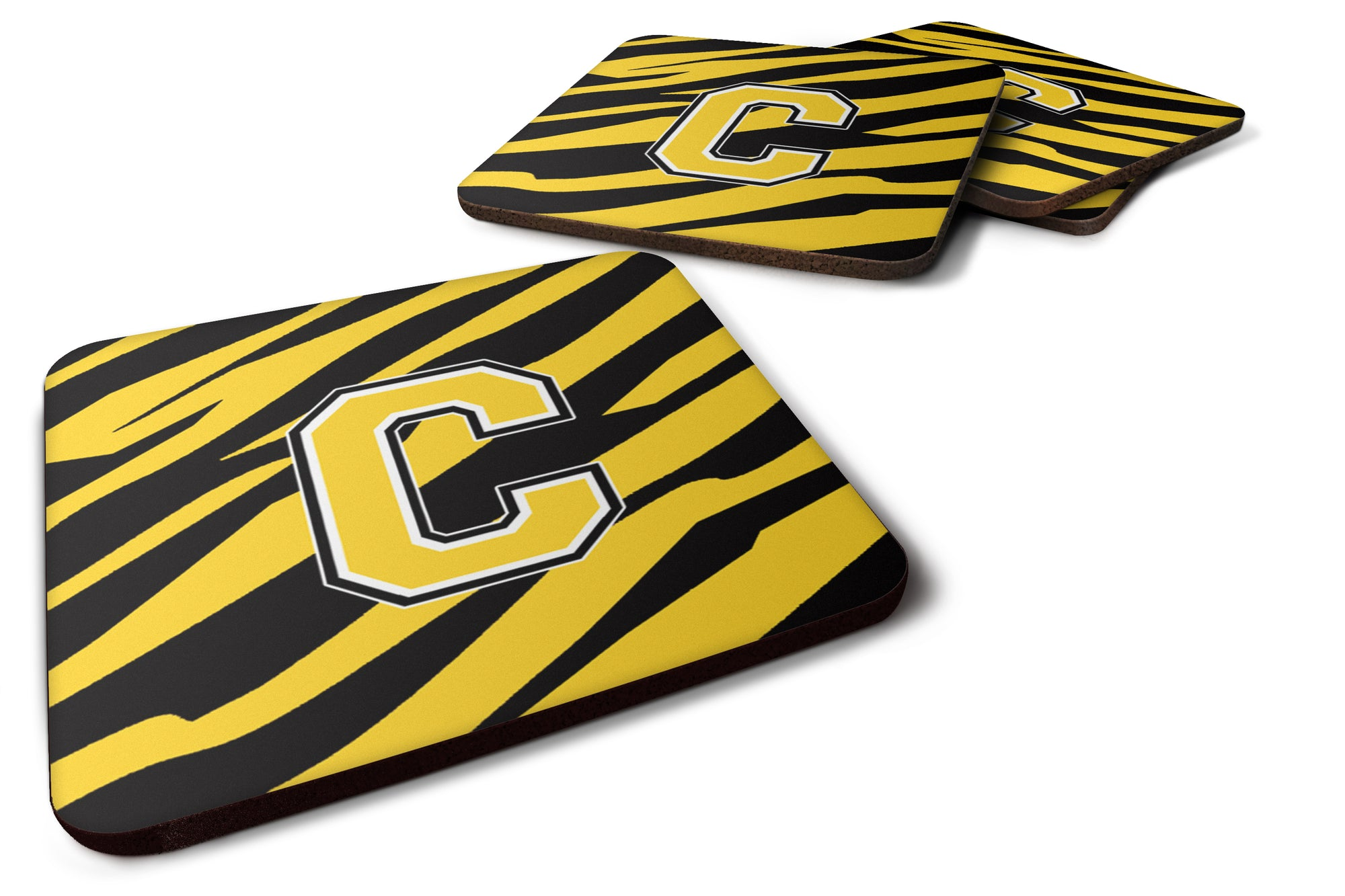 Set of 4 Monogram - Tiger Stripe - Black Gold Foam Coasters Initial Letter C by Caroline's Treasures