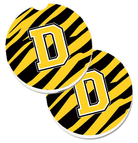 Buy this Monogram Initial D Tiger Stripe - Black Gold Set of 2 Cup Holder Car Coasters CJ1026-DCARC