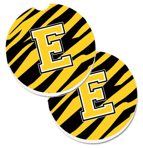 Buy this Monogram Initial E Tiger Stripe - Black Gold Set of 2 Cup Holder Car Coasters CJ1026-ECARC