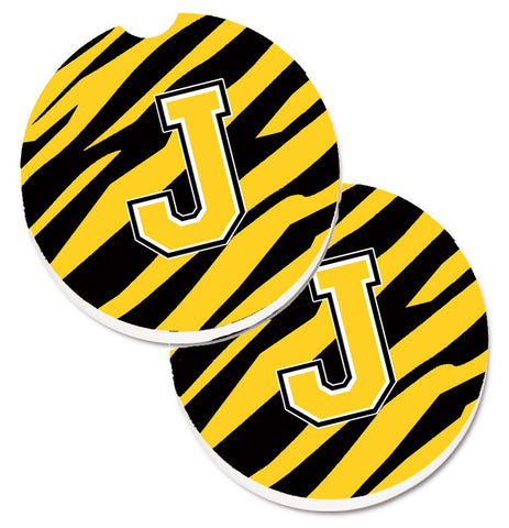 Buy this Monogram Initial J Tiger Stripe - Black Gold Set of 2 Cup Holder Car Coasters CJ1026-JCARC