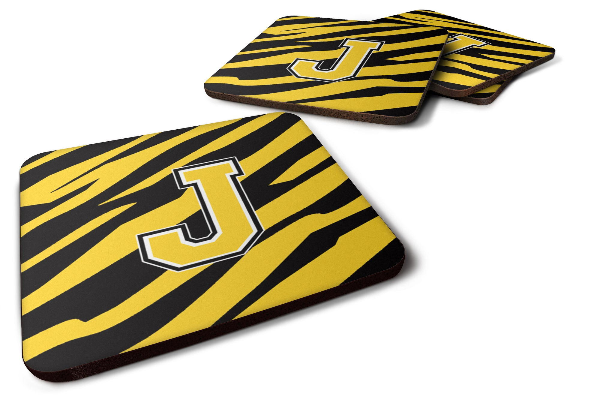 Set of 4 Monogram - Tiger Stripe - Black Gold Foam Coasters Initial Letter J by Caroline's Treasures