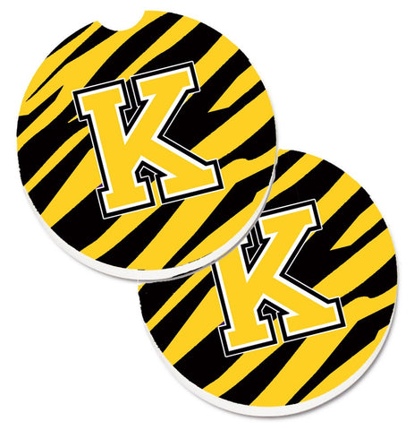 Buy this Monogram Initial K Tiger Stripe - Black Gold Set of 2 Cup Holder Car Coasters CJ1026-KCARC