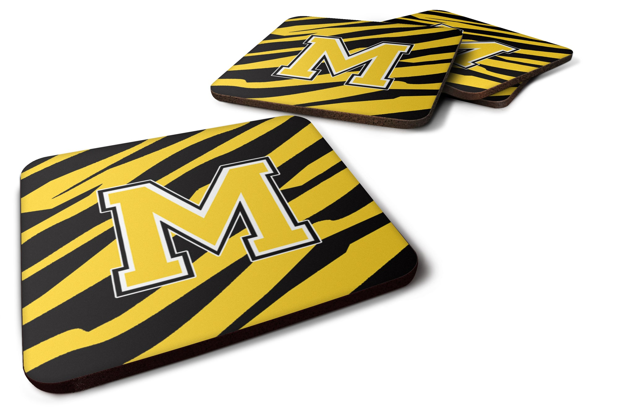Set of 4 Monogram - Tiger Stripe - Black Gold Foam Coasters Initial Letter M by Caroline's Treasures