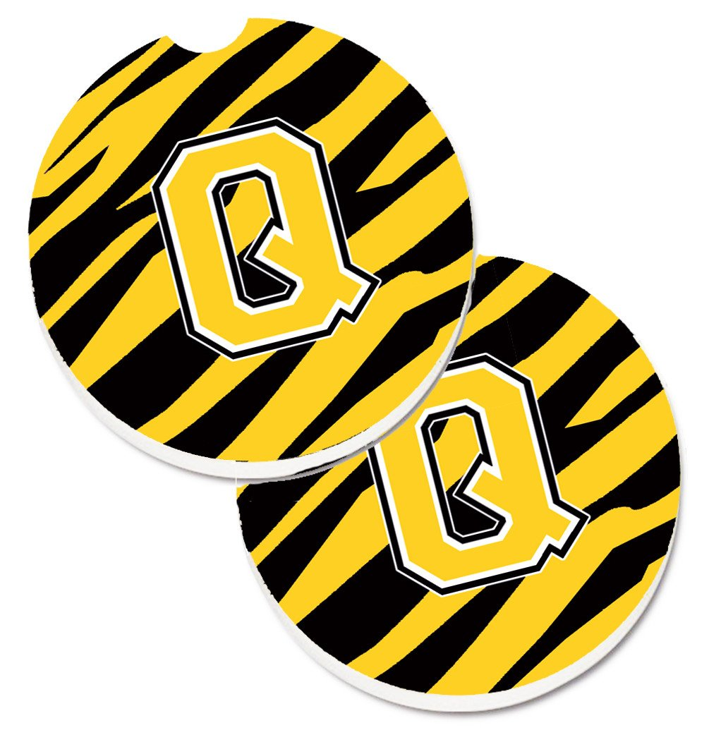 Monogram Initial Q Tiger Stripe - Black Gold Set of 2 Cup Holder Car Coasters CJ1026-QCARC by Caroline's Treasures