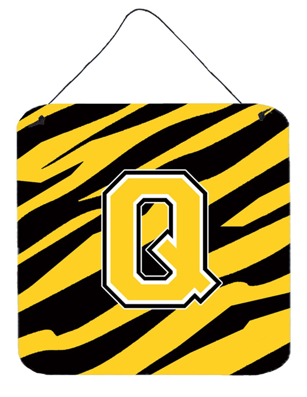 Letter Q Initial Tiger Stripe - Black Gold  Wall or Door Hanging Prints by Caroline's Treasures