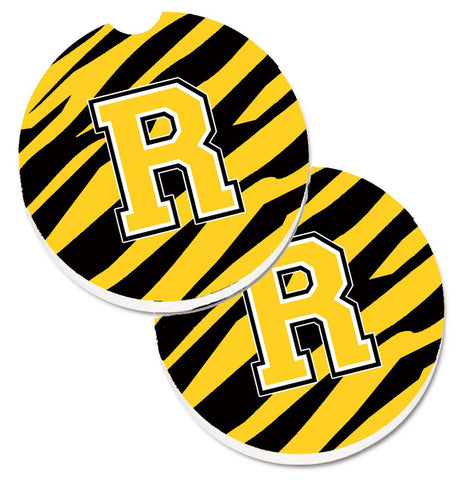 Buy this Monogram Initial R Tiger Stripe - Black Gold Set of 2 Cup Holder Car Coasters CJ1026-RCARC