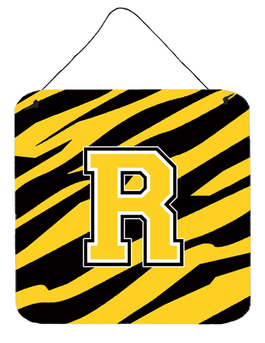 Letter R Initial Tiger Stripe - Black Gold  Wall or Door Hanging Prints by Caroline's Treasures