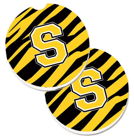 Buy this Monogram Initial S Tiger Stripe - Black Gold Set of 2 Cup Holder Car Coasters CJ1026-SCARC