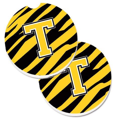 Buy this Monogram Initial T Tiger Stripe - Black Gold Set of 2 Cup Holder Car Coasters CJ1026-TCARC
