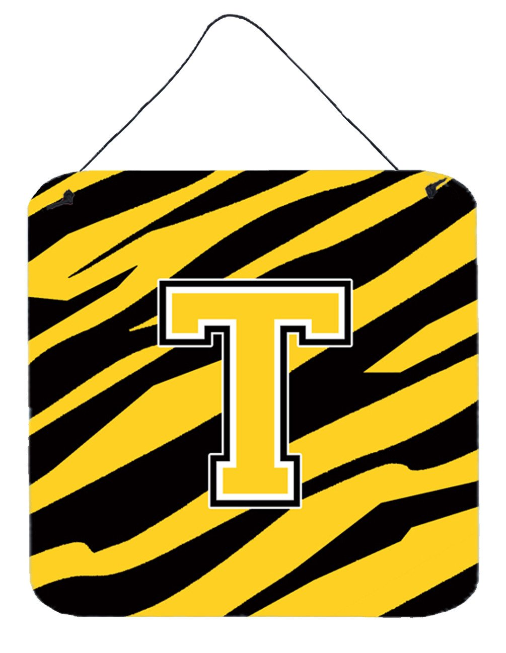 Letter T Initial Tiger Stripe - Black Gold  Wall or Door Hanging Prints by Caroline's Treasures