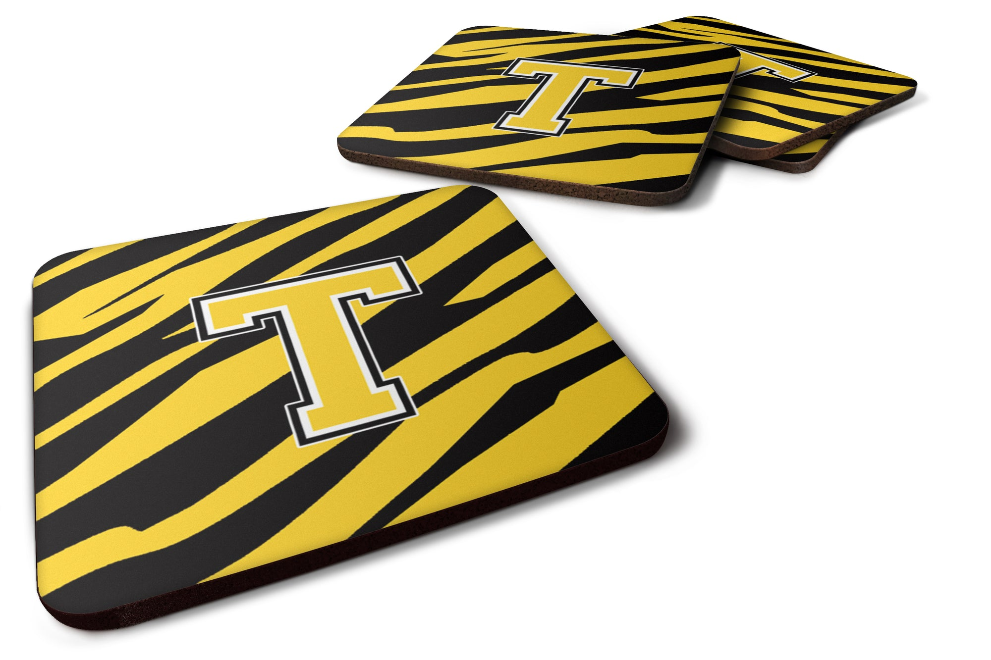Set of 4 Monogram - Tiger Stripe - Black Gold Foam Coasters Initial Letter T by Caroline's Treasures