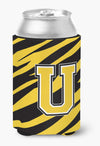 Letter U Initial Monogram - Tiger Stripe - Black Gold Can Beverage Insulator Hugger by Caroline's Treasures