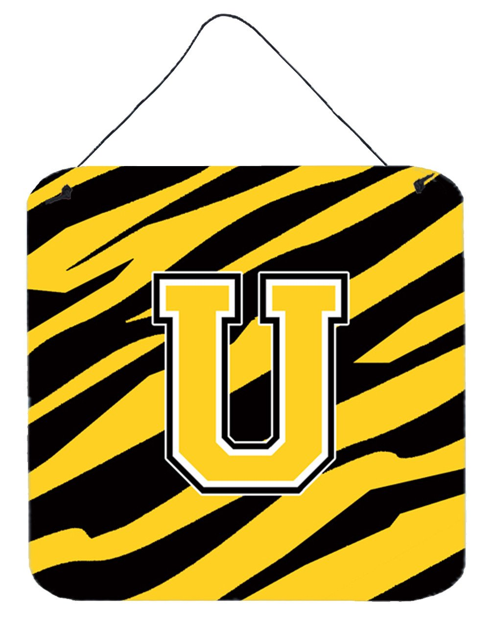 Letter U Initial Tiger Stripe - Black Gold  Wall or Door Hanging Prints by Caroline's Treasures