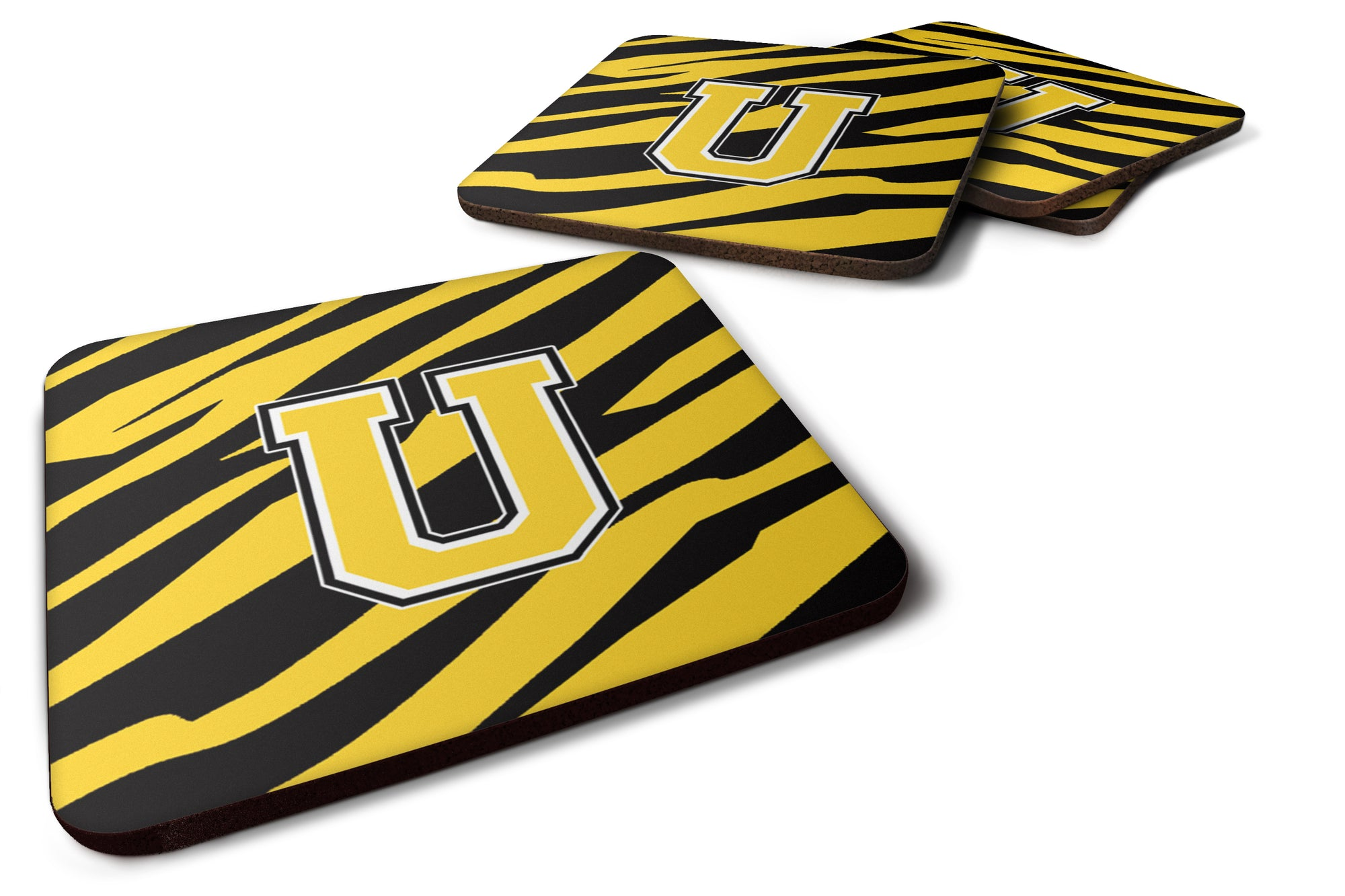 Set of 4 Monogram - Tiger Stripe - Black Gold Foam Coasters Initial Letter U by Caroline's Treasures