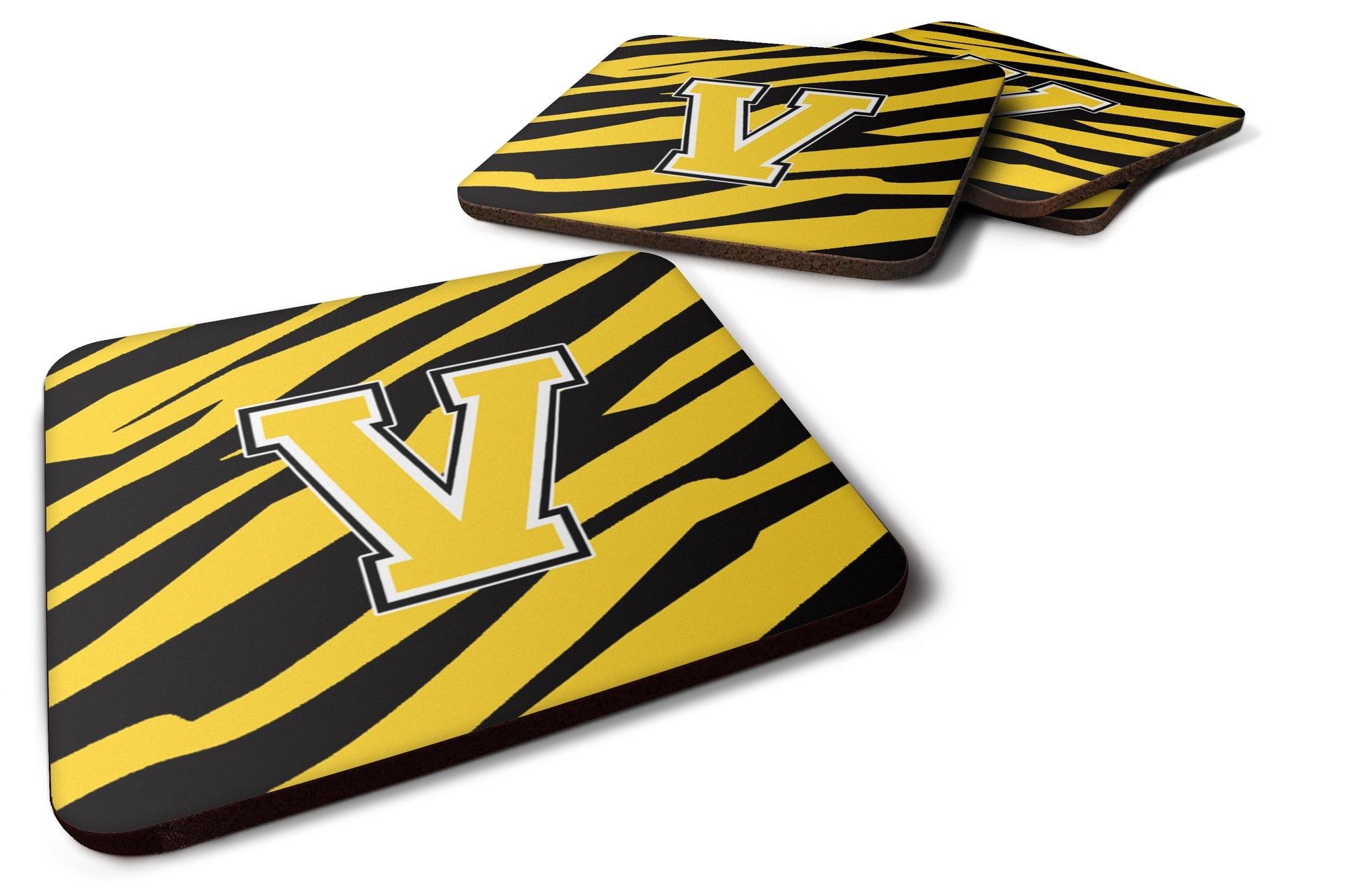 Set of 4 Monogram - Tiger Stripe - Black Gold Foam Coasters Initial Letter V by Caroline's Treasures