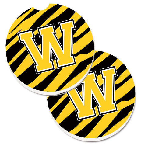 Buy this Monogram Initial W Tiger Stripe - Black Gold Set of 2 Cup Holder Car Coasters CJ1026-WCARC