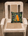 Letter A Monogram - Camo Green Fabric Decorative Pillow CJ1030-APW1414