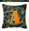 Letter A Monogram - Camo Green Fabric Decorative Pillow CJ1030-APW1414 by Caroline's Treasures