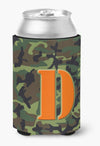 Letter D Initial Monogram - Camo Green Can or Bottle Beverage Insulator Hugger by Caroline's Treasures