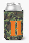 Letter H Initial Monogram - Camo Green Can or Bottle Beverage Insulator Hugger by Caroline's Treasures